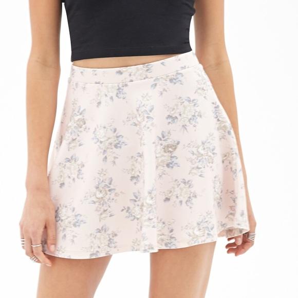 9f6db2a879 Forever 21 Skirts | Floral Scuba Knit Skater Skirt | Poshmark